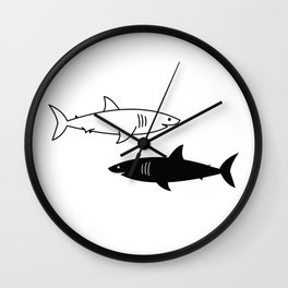 B/W Shark Wall Clock