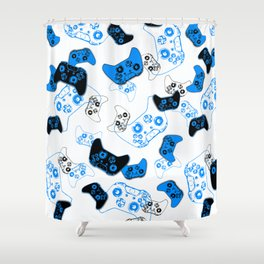 Video Game White and Blue Shower Curtain