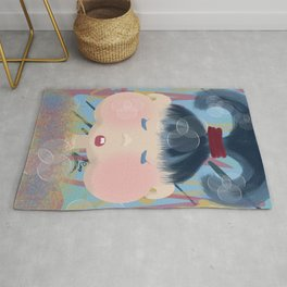 Little Red Scrunchie Girl  Rug