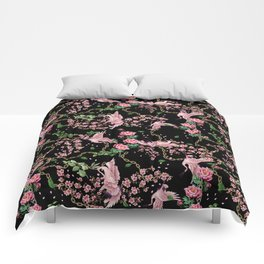 bird and flowers Comforters