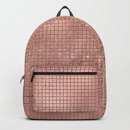 Beautiful Modern Rose Gold Square Pattern Backpack