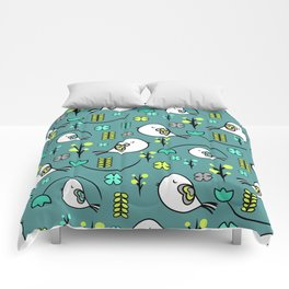 Cute birds and flowers Comforters