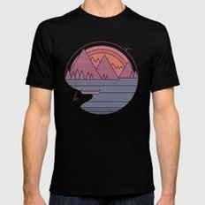 The Mountains are Calling Black MEDIUM Mens Fitted Tee