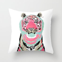 Pink Tiger Collage Throw Pillow