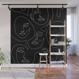 Faces in Dark Wall Mural