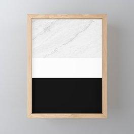 Marble Black White Framed Mini Art Print