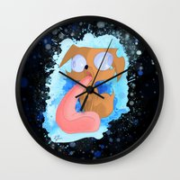 ale giorgini Wall Clocks featuring Ale the Dog and his Drool by LaughingGal