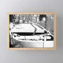 Black & White Boat Framed Mini Art Print