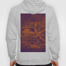 Abstract rusty car in purple and orange Hoody
