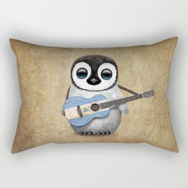 Baby Penguin Playing Nicaraguan Flag Acoustic Guitar Rectangular Pillow