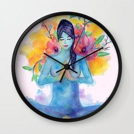 Namaste Watercolor Wall Clock