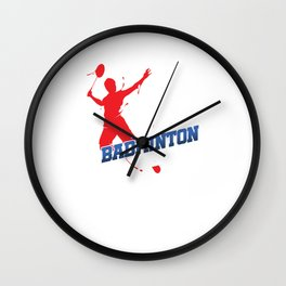 Eat Sleep Badminton Repeat Racket Rally Serve Racquet Court Shuttlecock Gift Wall Clock