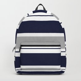 Navy Blue and Grey Stripe Backpack