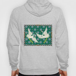 Colourful Oriental Cranes Decoration Patterns Hoody