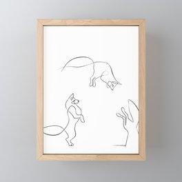 Leaping Fox. OneLineArt. Black. Framed Mini Art Print