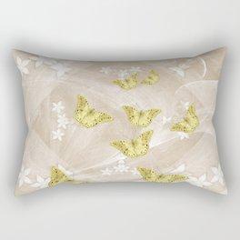 Gold butterflies on stormy iced-coffee flower mandala Rectangular Pillow