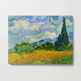Wheat Field with Cypresses Vincent van Gogh Oil on canvas 1889 Metal Print
