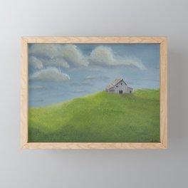 Distant Barn on a Cloudy Day Framed Mini Art Print