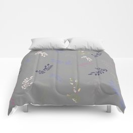 Colorful leaves on light grey background Comforters