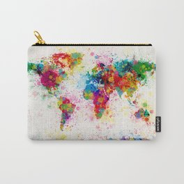 Map of the World Map Paint Splashes Carry-All Pouch