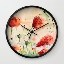poppy in the wind Wall Clock