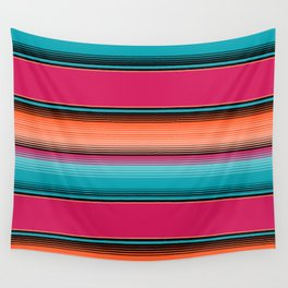 Traditional Mexican Serape in Teal Wall Tapestry