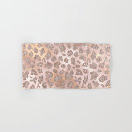 Rosegold Blush Leopard Glitter   Hand & Bath Towel