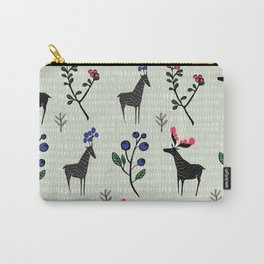 Berry loving deers on a green background Carry-All Pouch