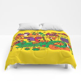 Yellow Doodle Monster World by Pablo Rodriguez (Pabzoide) Comforters