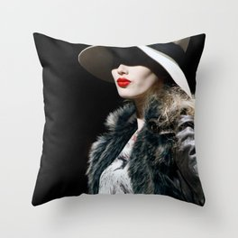 Lady Lips Throw Pillow
