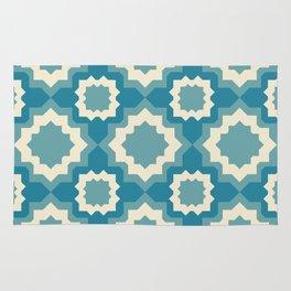 Teal Tiled Geometric Pattern Rug