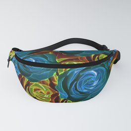 closeup rose pattern texture abstract in blue red and yellow Fanny Pack