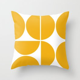 Mid Century Modern Yellow Square Throw Pillow