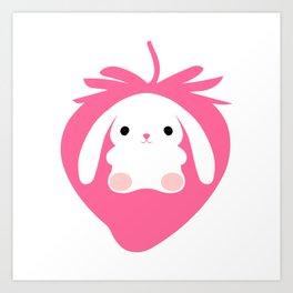 Mei the Strawberry Rabbit Art Print