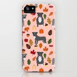 Pitbull fall autumn leaves acorn pinecones dog breed pet gifts pitbulls pet art iPhone Case