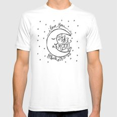 I LOVE YOU TO THE MOON AND BACK White MEDIUM Mens Fitted Tee