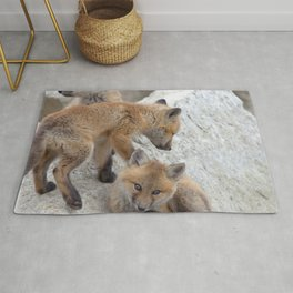 Watercolor Fox, Red Fox 16, Union Reservoir, Boulder County Rug