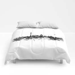Washington DC Skyline Black and White Comforters
