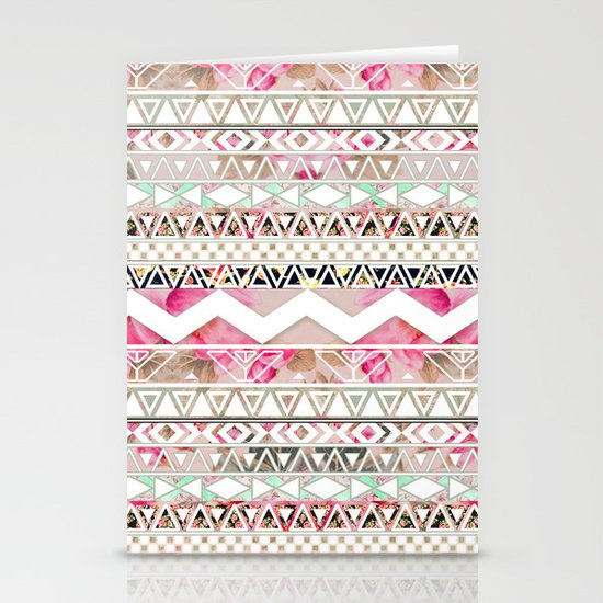 Aztec Spring Time! | Girly Pink White Floral Abstract Aztec Pattern Stationery Cards