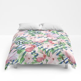 Modern blue white stripes blush pink green watercolor floral Comforters