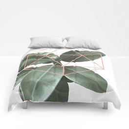 Geometric greenery Comforters