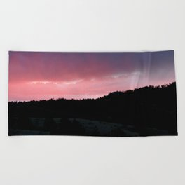 Purple Sunset Beach Towel