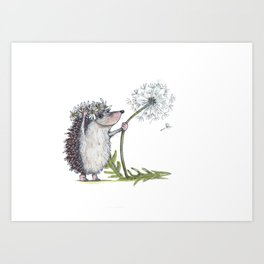 Hedgehog & Dandelion Art Print