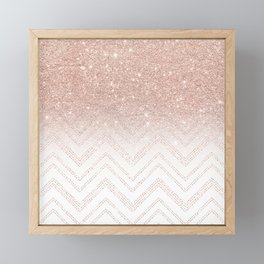 Modern faux rose gold glitter ombre modern chevron stitches pattern Framed Mini Art Print