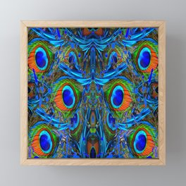 ARTY FEATHERY BLUE PEACOCK ABSTRACTED  FEATHERS ART Framed Mini Art Print