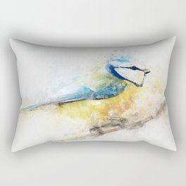 Yellow blue tit watercolour painting watercolour minimalism artsy illustration Rectangular Pillow