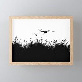 Seagulls Flying over Sand Dunes Framed Mini Art Print