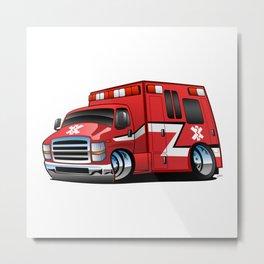 Paramedic EMT Ambulance Rescue Truck Cartoon Metal Print