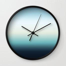 ocean sky color gradient  - blue , white , black Wall Clock