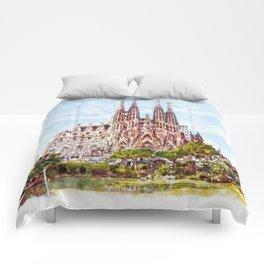 La Sagrada Familia watercolor Comforters